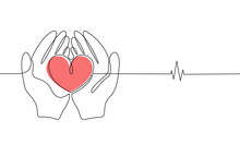 Human Hands Hold A Heart In Line Art Style On White Background. Hope And Kindness Concept, Cardiology, Volunteering And Donation. Vector Stock Illustration.