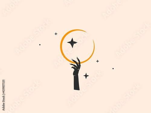 Fotografie, Obraz Hand drawn vector abstract stock flat graphic illustration with logo element,boh
