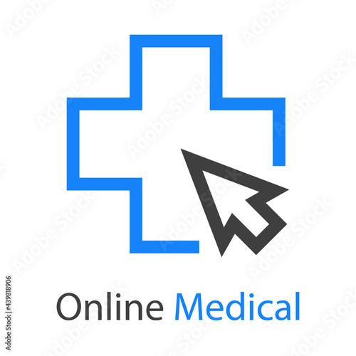 Wallpaper Mural Logotipo con texto Online Medical con cruz y flecha de mouse con lineas en color