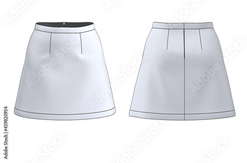 Obraz na plátně Front and back A-Line skirt fashion flat/illustration black and white with high-quality details such as invisible zipper and stitches, perfect for women's apparel mockup