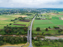 Intersection Of Country Roads Going To Bridge Towards Town Of Singleton