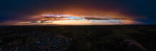 Panoramic View Of Last Light Through Clouds Over The Edge Of Singleton