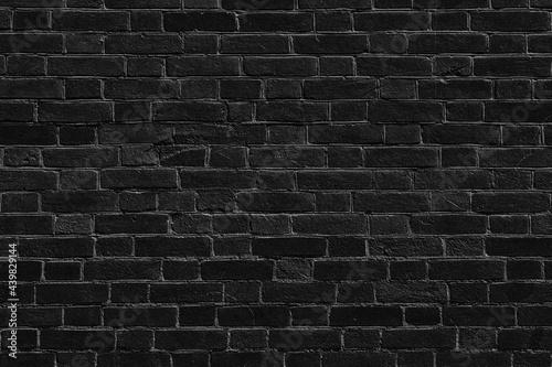 Photo Black old rough brick wall texture