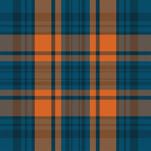 Tartan Plaid Pattern In Blue. Print Fabric Texture Seamless. Check Vector Background.