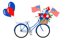 Vector Patriotic Bicycle Illustration, Isolated On White Background. Blue Bike With American Flags, Red, White, Blue Flowers And Balloons. 4th Of July Holiday Card.
