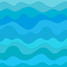 Pattern With Lines And Waves. Multicolored Texture. Abstract Dinamic Background. Cold Colors. Doodle For Design. Nautical Wallpaper. Art Creative. Illustration. Decorative Style. Line Art Creation
