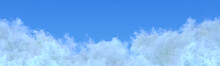 Panoramic Huge White Cumulus Clouds Image Isolated - Computer Generated Nature 3D Illustration