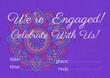 Leinwandbild Motiv Engagement and celebration text with copy space against colorful floral design on purple background