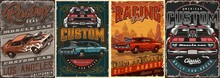 Muscle Cars Vintage Colorful Posters