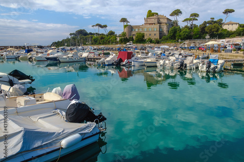 Dockyard with medieval castle on the background , Santa Marinella , Rome , Italy Fototapet