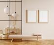 Leinwandbild Motiv Minimalist boho home interior mockup, living room in pastel colors, 3d render