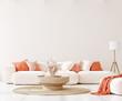 Leinwandbild Motiv Home mockup in living room interior background,  3d render