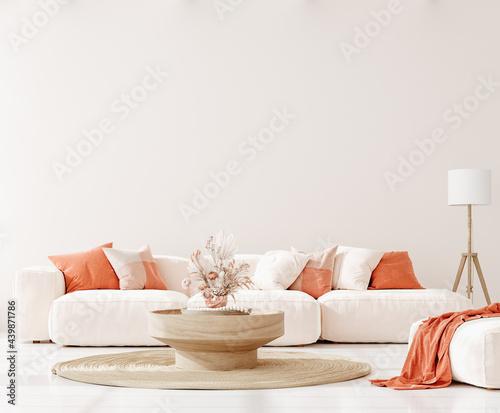 Foto Home mockup in living room interior background,  3d render