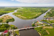 Aerial View Of The Old Bridge In Polessk Town, Kaliningrad Region