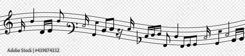 Fotografering Music notes wave, musical notes on transparent background, Music notes decorativ