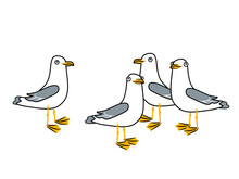 Group Of Happy Seagulls On The Beach. Vector Doodle Illustration Isolated On White Background.