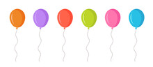 Party Colorful Balloon Icons Set. Holiday Birthday.