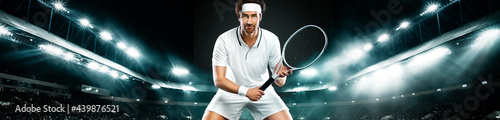Fotografie, Obraz Tennis player with racket in white t-shirt