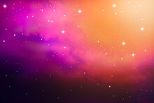 Abstract Background Space Of Night Sky With Cloud And Stars, Nebula And Galaxy