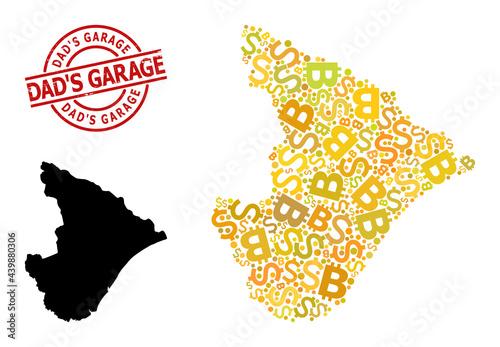 Valokuva Distress Dad'S Garage stamp seal, and bank mosaic map of Sergipe State