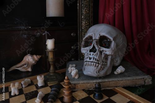 Obraz na plátne allegorical still life in the genre of baroque Vanitas, a skull on a book, candl