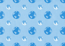 Earth And Moon Blue Pattern Illustration