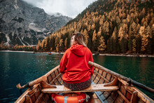 Anonymous Woman On Boat In Dolomite Lake