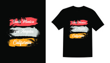 Santa Monica Los Angeles Summer Sublimation Beach Vintage Printable T Shirt Design Vector
