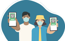 Young Vaccinated People Using Digital Health Passports. Adult Man And Woman Showing An App In Mobile Phone. Immunization Certificate With Qr Code On Device Screen. Green Immunity CovPass Application.