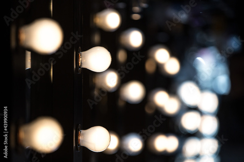 Make-up artists mirrors with light bulbs, Fashion Show themed photo Fototapet