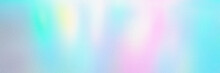 Blur, Grain, And Texture Of Iridescent Holographic Abstract Aurora Light Neon Colors Background. Blurred Pastel Multicolored Backdrop From Glowing Lights. Banner