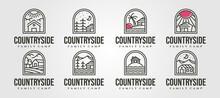 Set Of Vector Cottage Line Art Logo Minimal Illustration Design, Line Art Cabin Logo Vector Design