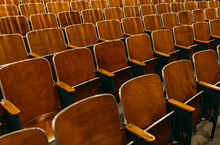 Vintage Wooden Seats In Old Auditorium Theater