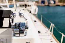 Metal Levers On Modern Yacht