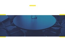Composition Of Blue Tint Over Retro Meeting Room Table And Chairs With Yellow Rectangles On White
