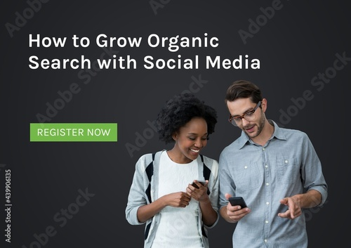 Composition of how to grow organic search text and register now over couple using smartphones