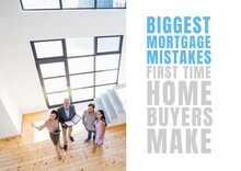 Composition Of Biggest Mortgage Mistakes Text, With Real Estate Agents And Couple In Modern Home