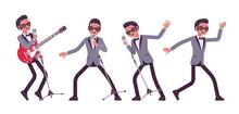 Musician, Jazz, Rock And Roll Man Singing, Dance Or Karaoke. Electro Guitar Performer, Pop Star Music Band Or Popular Night Club Solo Artist, Rock Concert. Vector Flat Style Cartoon Illustration