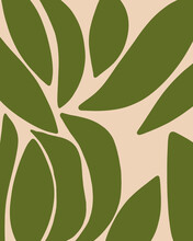 Modern Abstract Botanical Design In Green