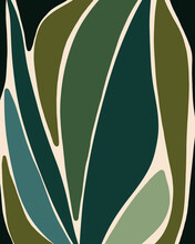 Modern Abstract Botanical Design In Shades Of Blue And Green