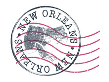 New Orleans, LA, USA Stamp Map Postal. Silhouette Seal Roads And Streets. Passport Round Design. Vector Icon. Design Retro Travel National Symbol.