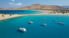 Aerial Photo Taken By Drone Of Caribbean Tropical Exotic Island Bay With Turquoise Clear Sea Sandy Beaches Resembling A Blue Lagoon Visited By Sail Boats