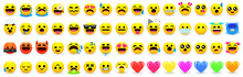Yellow Emoji. Emotional Faces, Set Of Different Smile, Joyful And Sad, Kind And Evil. Set 60