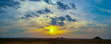 Panoramic View Of Sunset Over The Mojave Desert