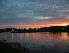 The Lake In Tsaritsyno At Cloudy Sunset