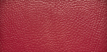 Texture Of Red Leatherette For Making Clothes And Shoes