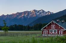 Red Barn In Pemberton, British Columbia