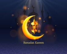 Happy Ramadan Kareem Greeting Card With Crescent Moon Lamp_2