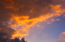 Scenic View Of A Beautiful Sunset Sky With Orange Clouds On The Horizon