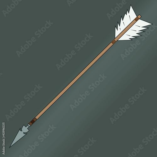 Billede på lærred Wooden Arrow Hunting Bow Illustration Flat Vector